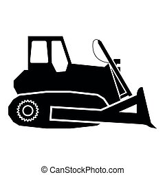 Bulldozer icon black color illustration flat style simple image