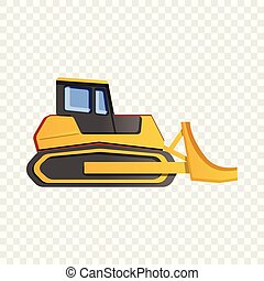 Bulldozer icon, cartoon style