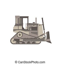 Bulldozer icon construction vector tractor equipment isolated building illustration design digger truck