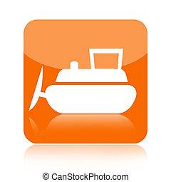Bulldozer icon isolated on white background