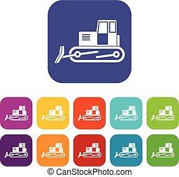 Bulldozer icons set flat