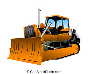 Bulldozer Illustration with Clipping Path
