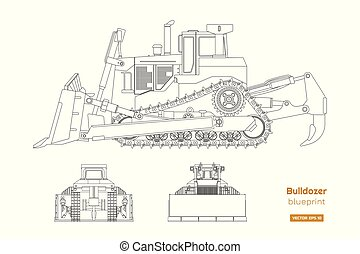 Bulldozer in outline style. Front, side and back view of ...
