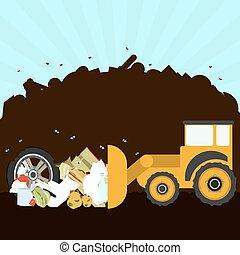 Bulldozer in the landfill - Bulldozer rearranging garbage in...