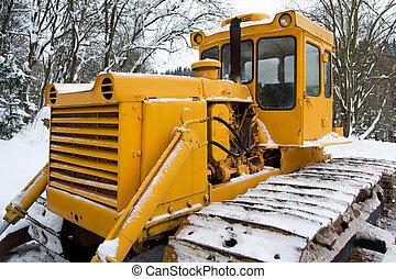 Bulldozer in the winter