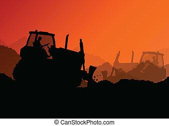bulldozer, industriale, vangata, scavatore, lavorante, luogo...