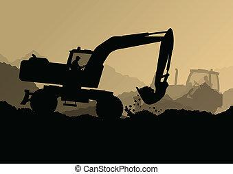 bulldozer, industriebedrijven, graven, graafwerktuig, werkmannen , bouwterrein, illustratie, tractoren, vector, achtergrond, bouwsector, laders