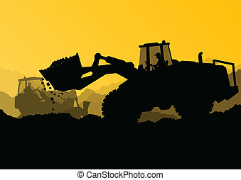 bulldozer, industriel, grave, gravemaskine, arbejdere, site, illustration, traktorer, vektor, baggrund, konstruktion, loaders