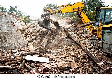 bulldozer, industriell, grävmaskin, ladda, skräp, rivning