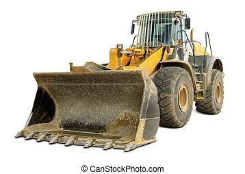 Bulldozer isolated on white