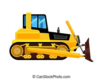 bulldozer isolated. quarry hydraulic machine for work front end yellow loader builders equipment vehicle vector cartoon