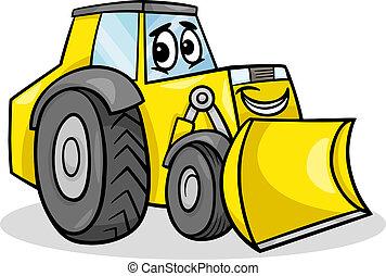 bulldozer, karakter, spotprent, illustratie
