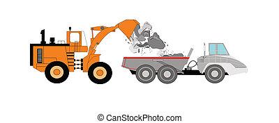bulldozer, lastbil, dumpa, fyllande