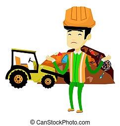 bulldozer, lavoratore, dump., rifiuti