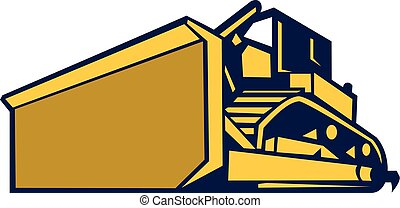 Illustration of a construction bulldozer tracked tractor set on isolated white background viewed from front in low angle done in retro style.