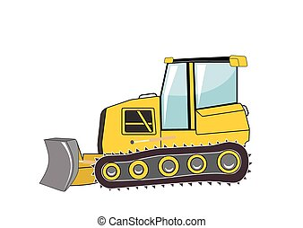 bulldozer., mayor, construction., vector, illustration.