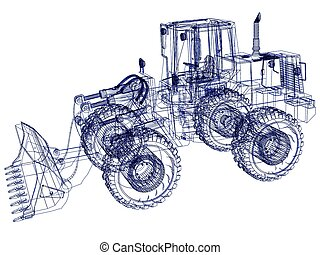 bulldozer, modèle, 3d