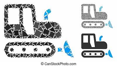 bulldozer, mosaïque, inequal, articles, icône