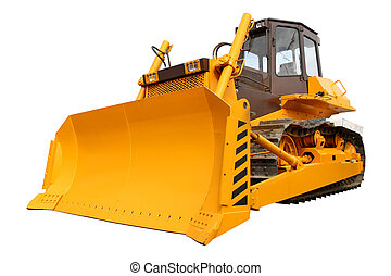 New yellow bulldozer isolated over white