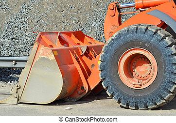 Bulldozer on road construction site