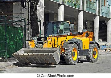 Bulldozer on road