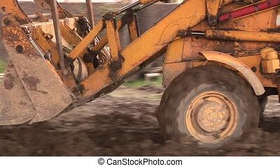 bulldozer, op, een, gebouw stek