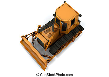 Bulldozer - Orange bulldozer isolated on white background....