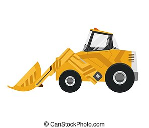 Bulldozer quarry machine. Stone wheel yellow digger. Backhoe front loader truck. Work tractor excavator. Vector illustration.