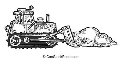 Bulldozer shove snow engraving vector illustration. Scratch...