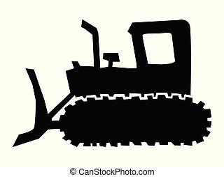 bulldozer, silhouette