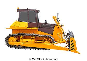 Bulldozer - Yellow bulldozer isolated over white background