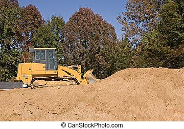 bulldozer, su, sporcizia