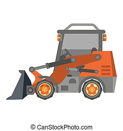 Bulldozer tractor with heap in flat design isolated on...