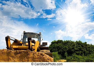 bulldozer, under, den, blåttsky