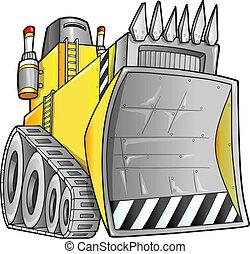 bulldozer, vecteur, apocalyptique