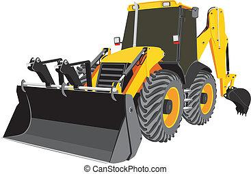 bulldozer, vecteur, earth-moving