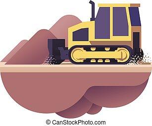 bulldozer, vecteur, icône