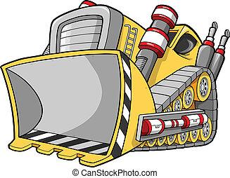 bulldozer, vecteur, illustration