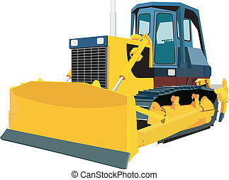 Bulldozer in vector on white