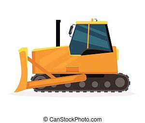 Bulldozer Vector Illustration in Flat Design