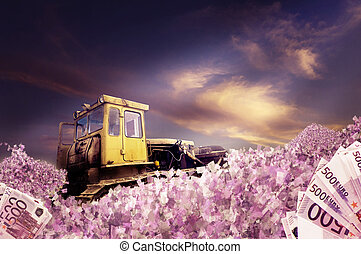Bulldozer with piles of money