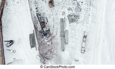 bulldozer working on a construction site, aerial shooting