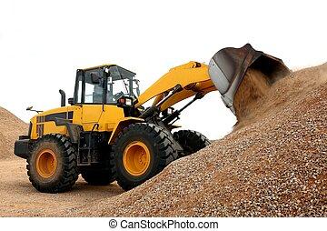 Bulldozer Working with Stone