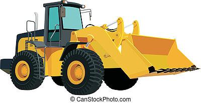 Yellow bulldozer isolated on a white