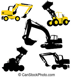 Bulldozers and excavators - Silhouette of the bulldozers and...