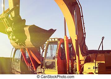Bulldozers at construction yard