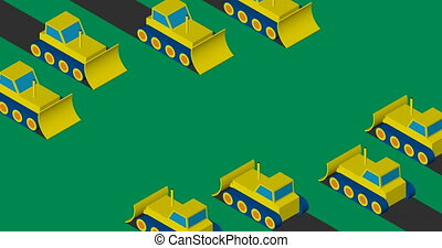 Bulldozers clearing the area. Flat isometric design. -...