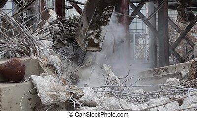Bulldozers drilling using hydraulic breaker hammer with audio