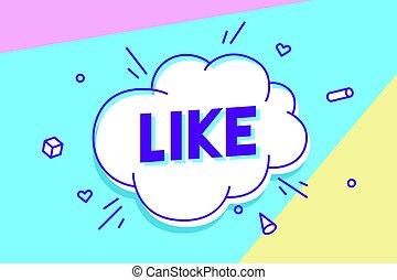 bulle, bubble., affiche, aimer, parole, autocollant, bannière