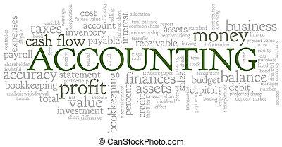 bulle, comptabilité, mot, nuage, étiquettes